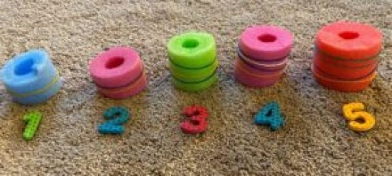 cut pool noodle fine motor math activity