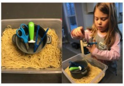 pasta cutting sensory bin fine motor activity