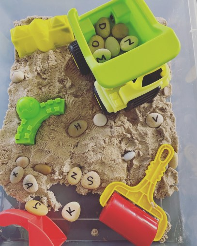 construction sensory alphabet game