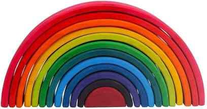 grimm's rainbow wooden block set