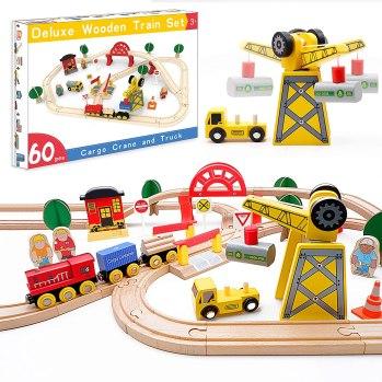 train tracks and trains
