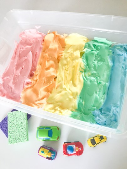 car washing sensory bin