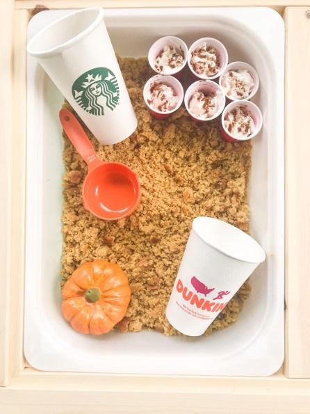 pumpkin spice sensory bin