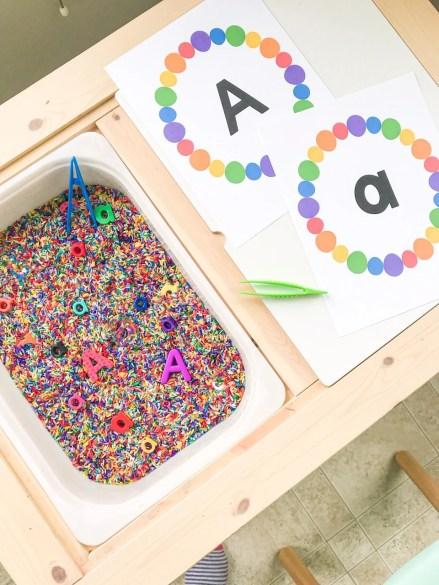 letter A sensory bin