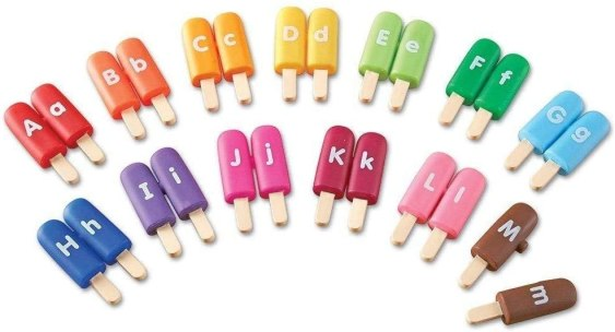 learning alphabet popsicles