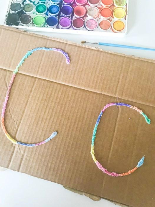 letter C salt painting
