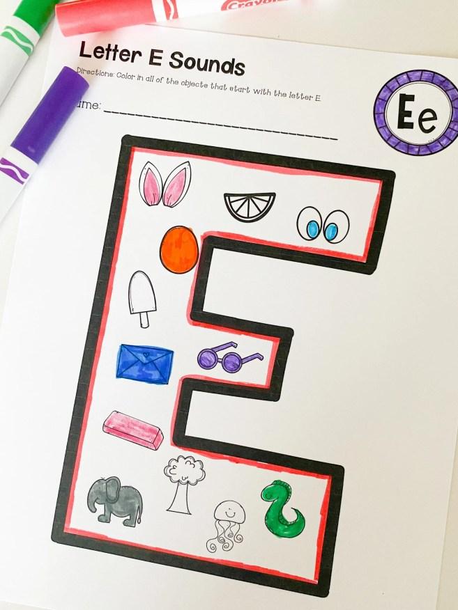beginning letter E sounds