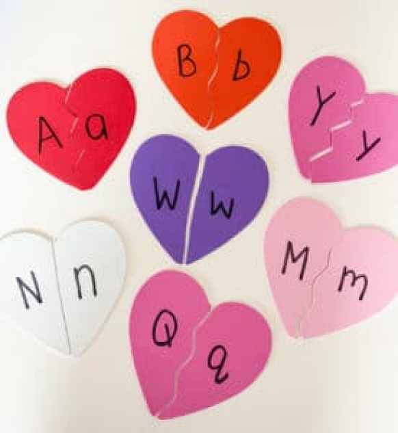 letter puzzles hearts