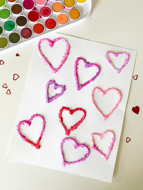salt heart painting
