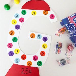 gum ball craft letter g