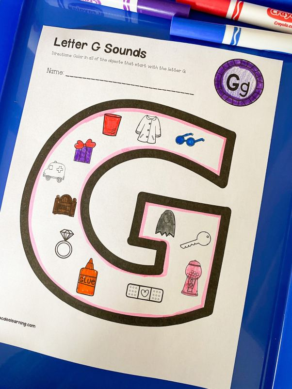 beginning sound letter G activity