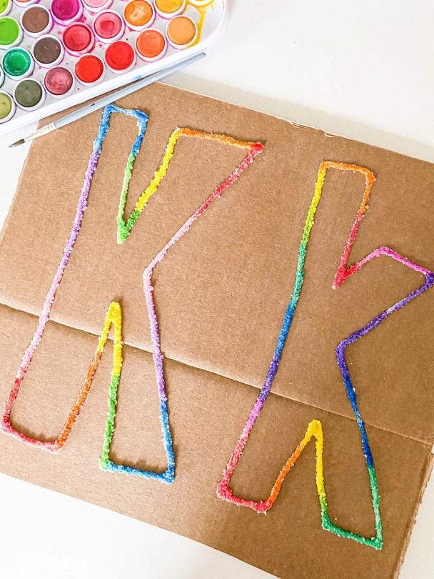 letter k salt painting
