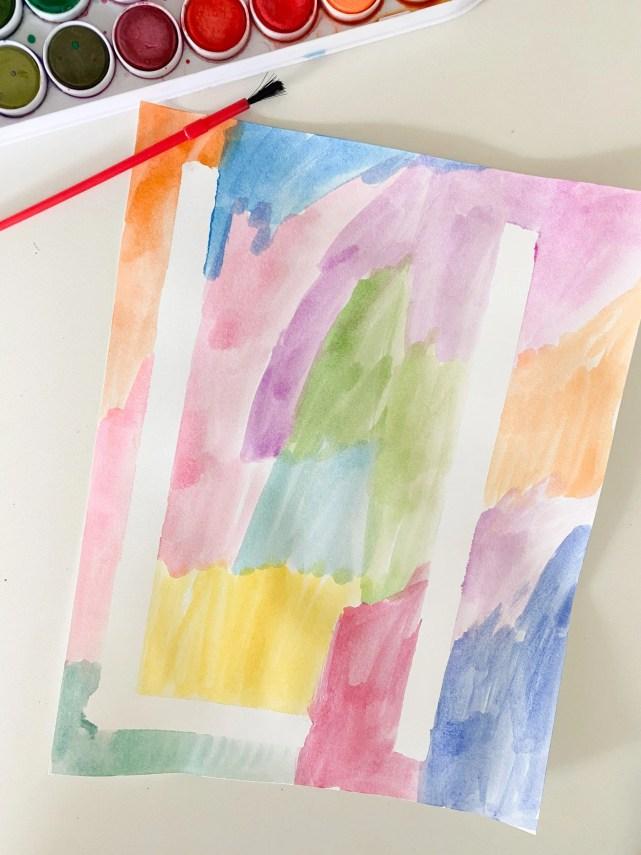 tape resist letter art