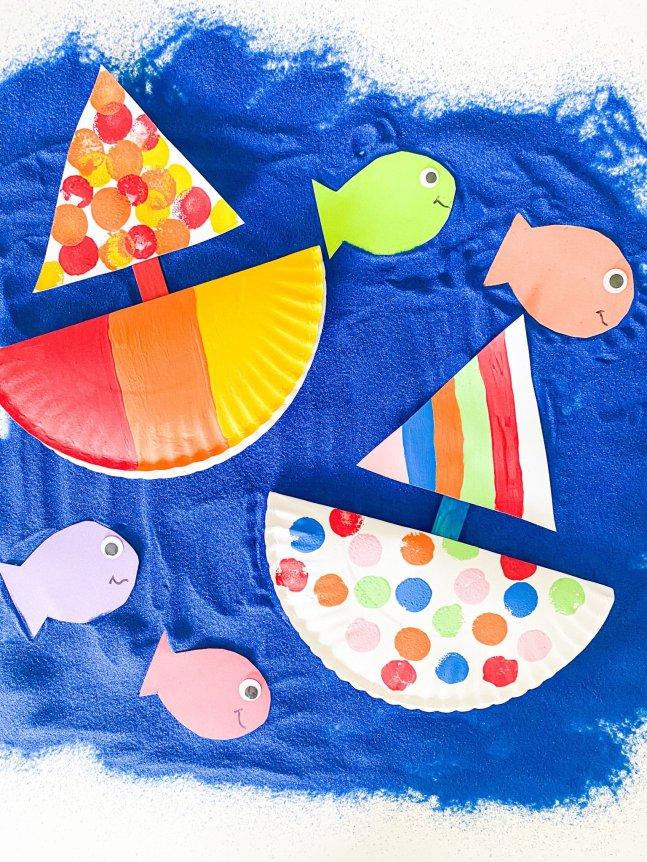 sailboat paper plate craft