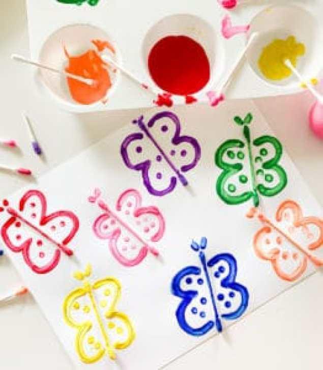 Q-tip butterflies craft