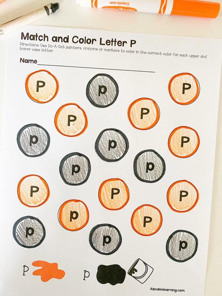 letter p paint dots