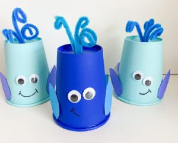 letter w whale cup craft