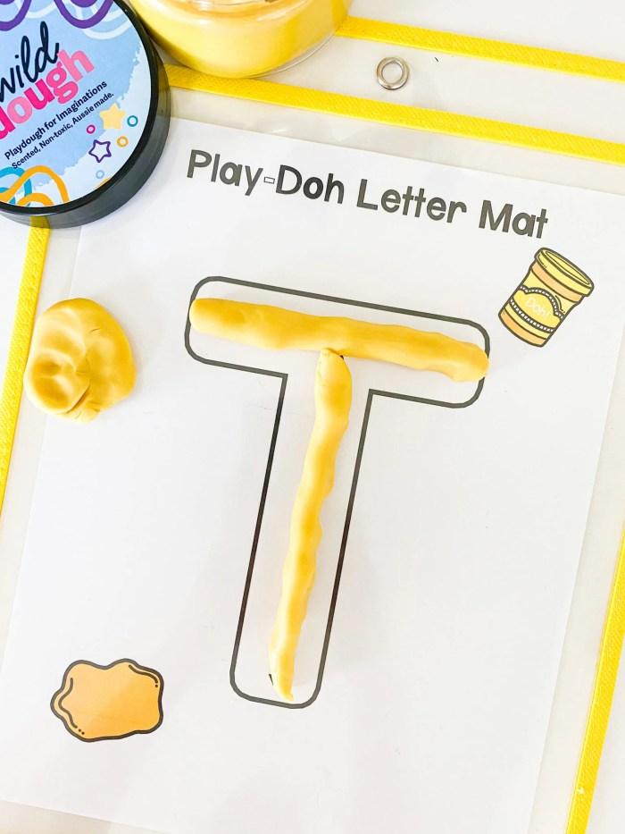 letter t play dough mat