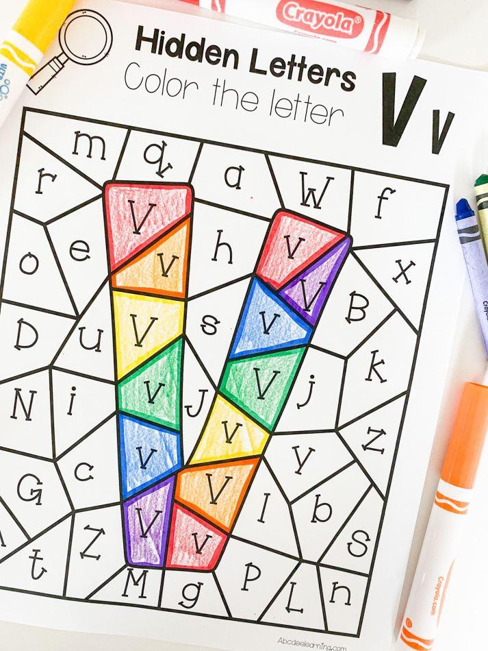 letter v hidden letter printable