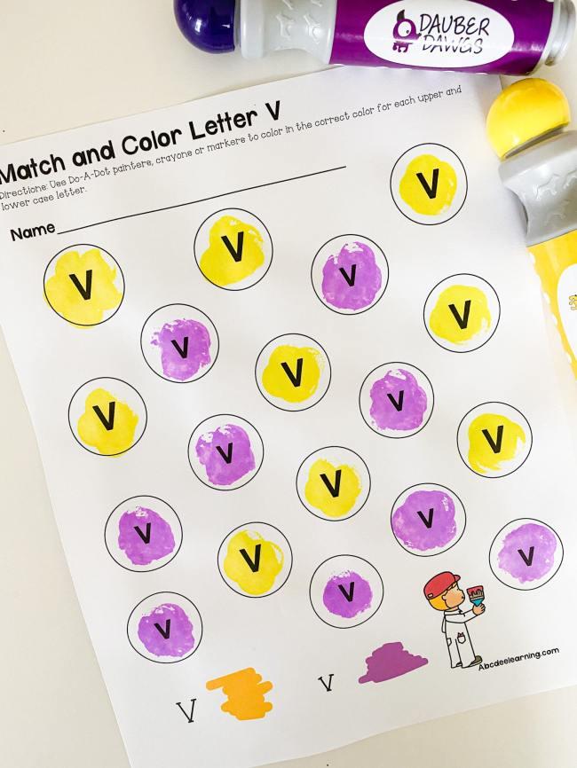 letter v painting printable