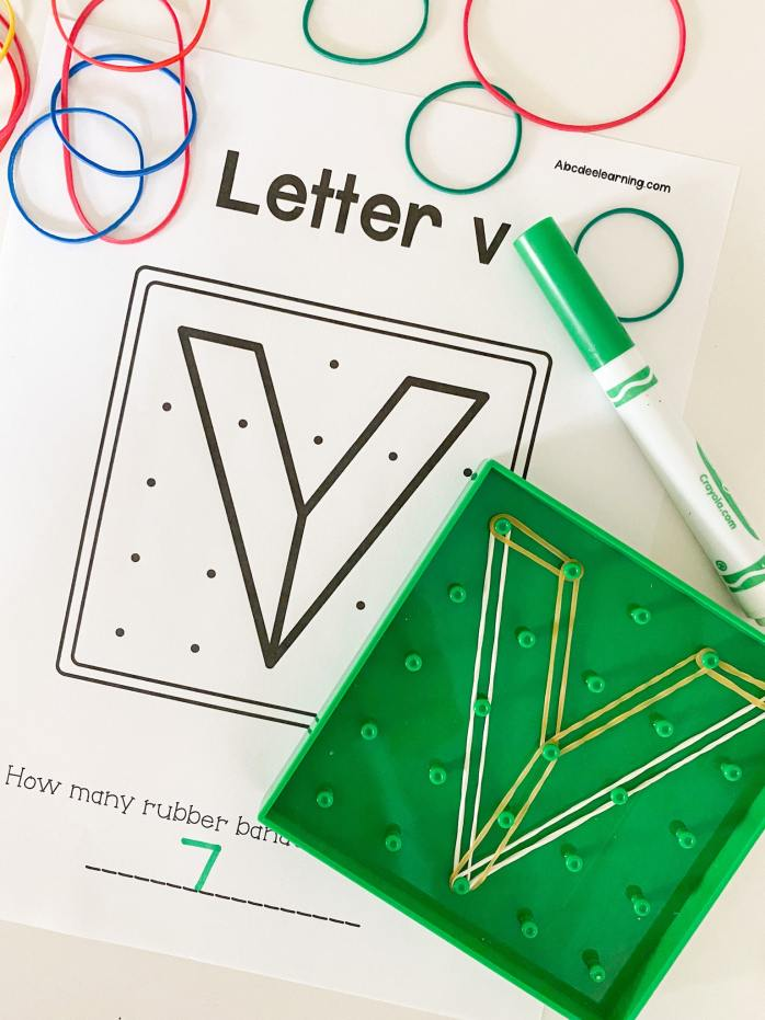 letter ve geoboard activity