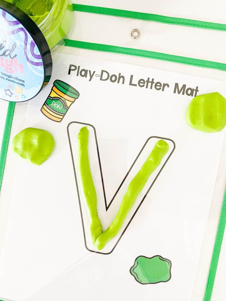 letter v play dough mat