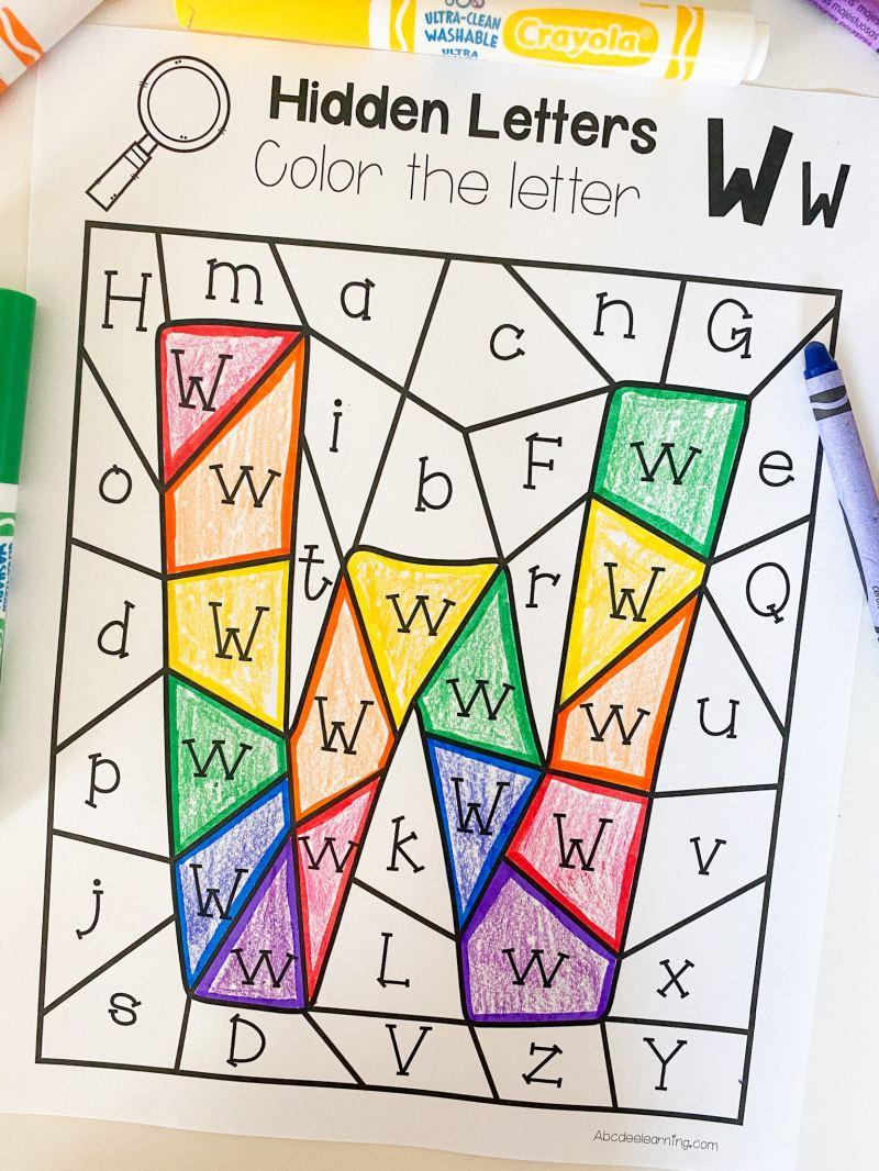letter w hidden letter coloring