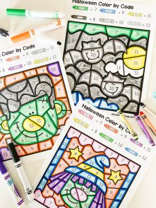 halloween color by code printable