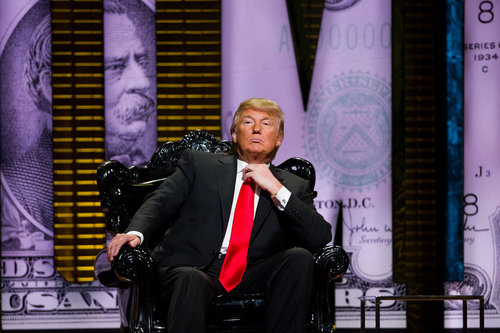 Donald Trump appears onstage at his Comedy Central Roast in New York, Wednesday, March 9, 2011. (AP Photo/Charles Sykes)