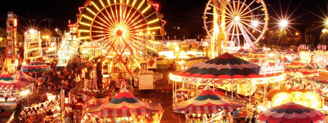 Alameda county fair at night with lights