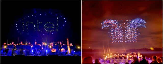 Two photo collage of Intel's world record 100 drone light show. Image on left is drones spelling out Intel logo. Image on right is colorful drone light movements.