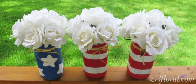 Patriotic Mason jars fillied with flowers