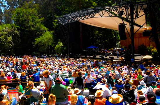 Stern Grove main stage with crowds of people watching