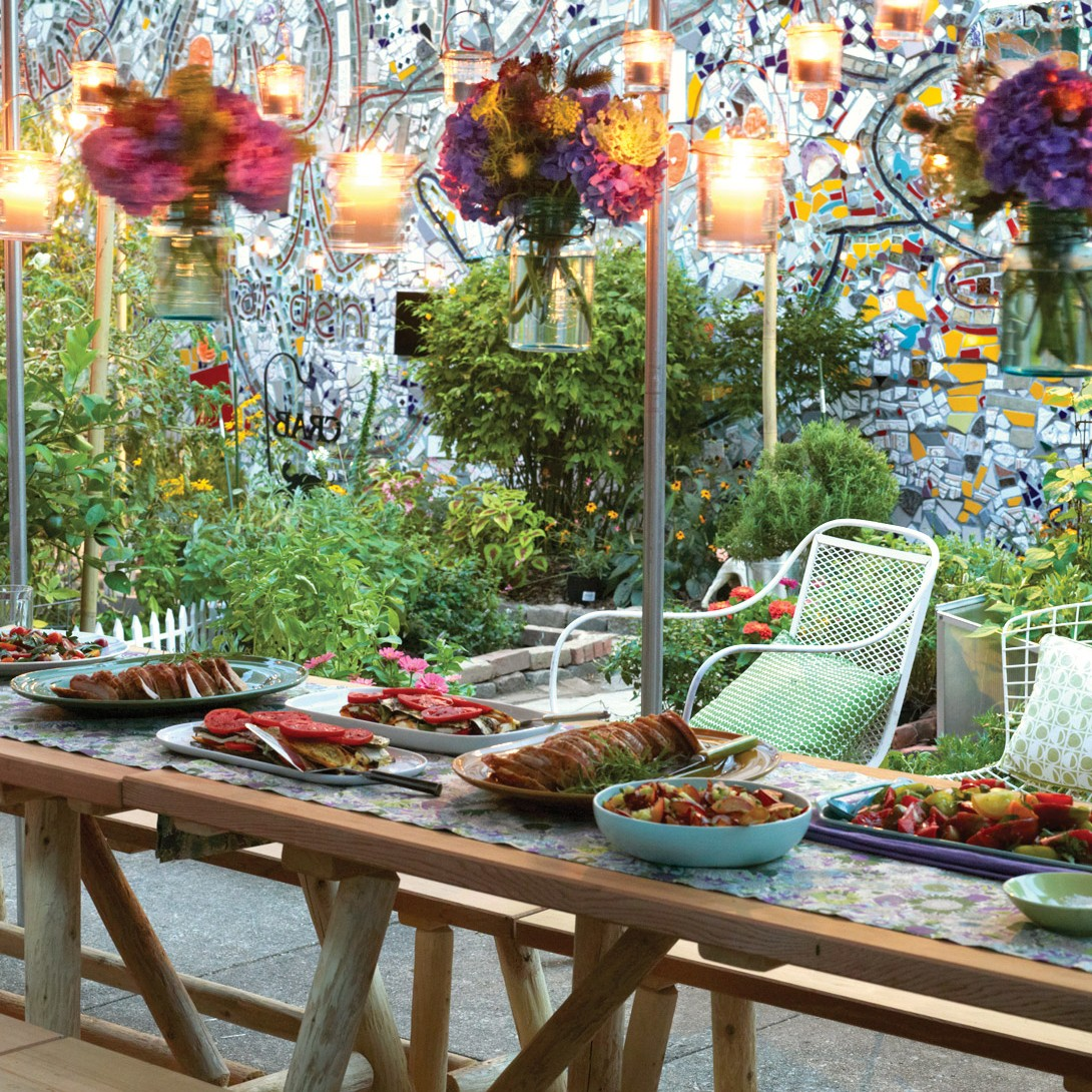 Outdoor party table, lights, plates