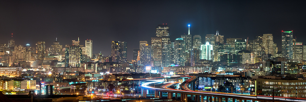 Panorama view of San Francisco Skyline at night
