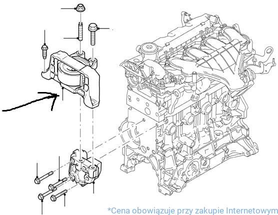 Poduszka silnika 1.8 TDCI / 1343056 FORD ABC Focus