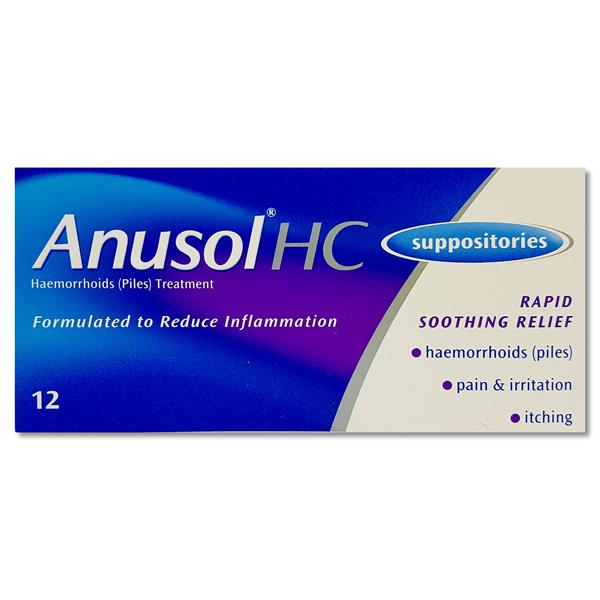 Anusol Hc Suppositories 12 Pack | Dowlings Pharmacy