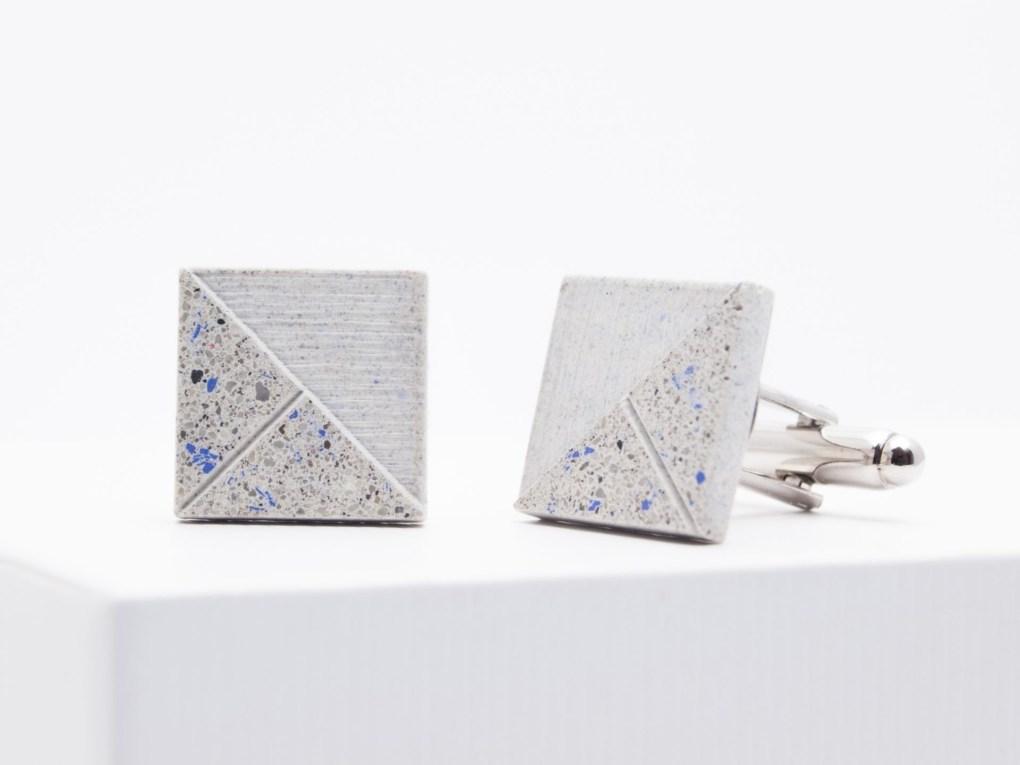 Concrete Cufflinks terazzo blue-white DELTA