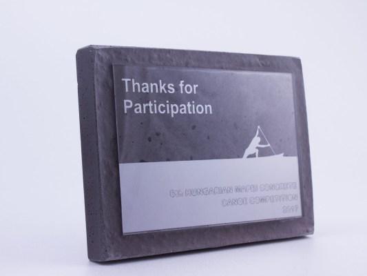 Thanks for participation concrete plaque for Concrete Canoe Championship