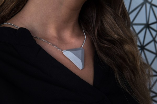 Triangle shaped concrete design necklace