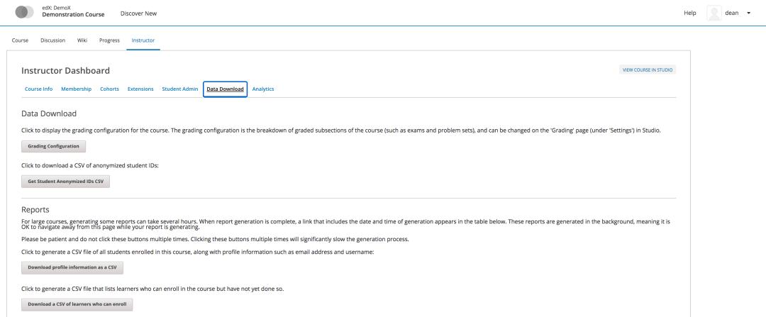 open edx instructor dashboard tutorial data download