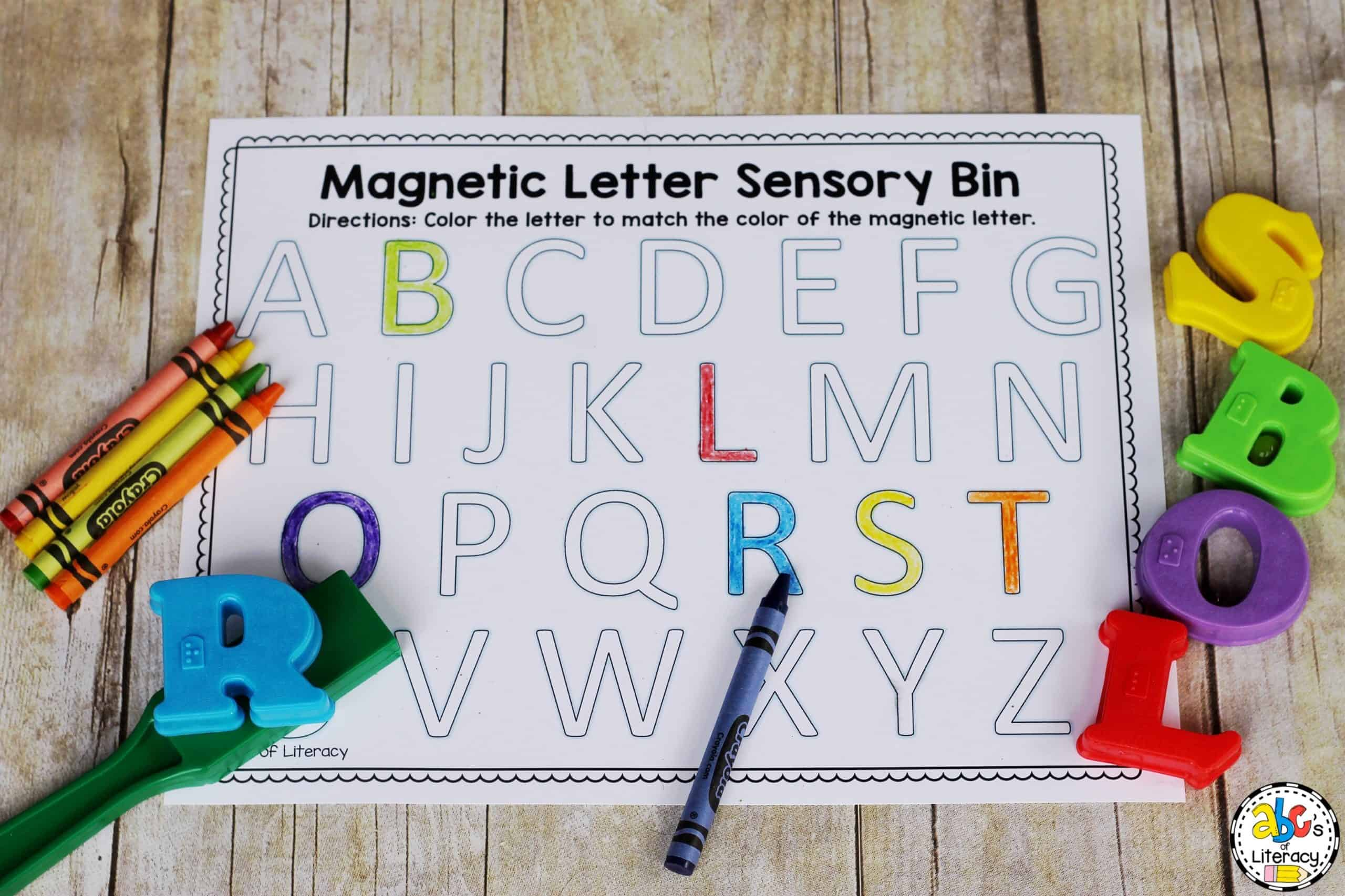 Magnetic Letter Sensory Bin Letter Recognition Activity