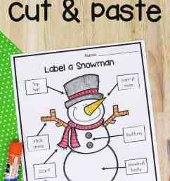 Label A Snowman: Cut and Paste Preschool Worksheet [ 2560 x 1707 Pixel ]
