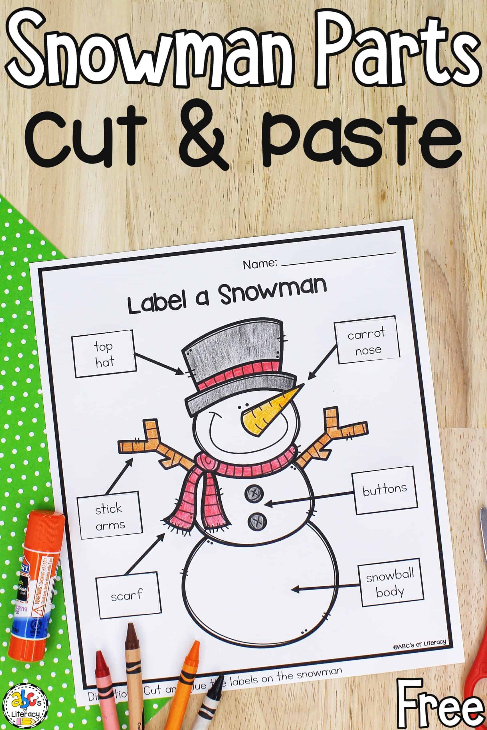 hight resolution of Label A Snowman: Cut and Paste Preschool Worksheet