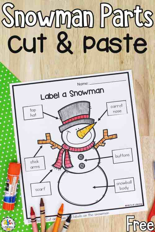 small resolution of Label A Snowman: Cut and Paste Preschool Worksheet