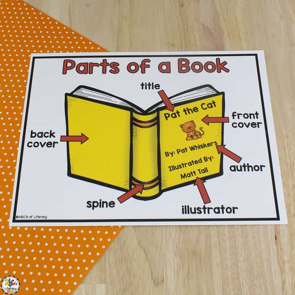 Parts Of A Book Poster Amp Worksheet Concepts Of Print