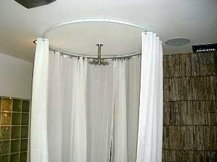 circle shower curtain rod white shower