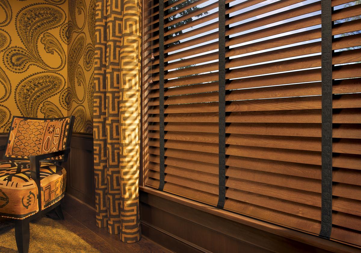 hd parkland wood blinds with decorative tape livingroom  Abda Window Fashions