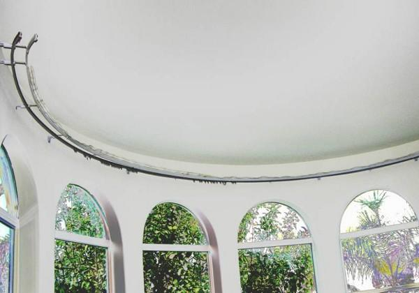 install bay window curtain rod single