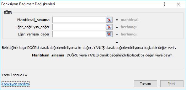 Microsoft Excel Eğer İşlemini Kullanma
